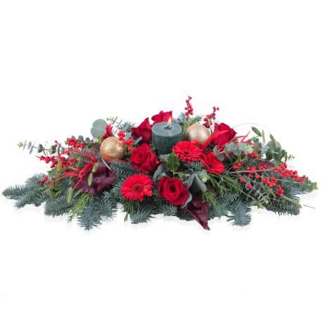 Noel, Centro navideño horizontal en tonos rojos