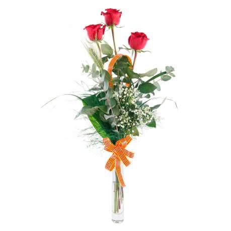 Arreglo Rosas Sant Jordi, 3 Rosas Rojas con decoración Sant Jordi