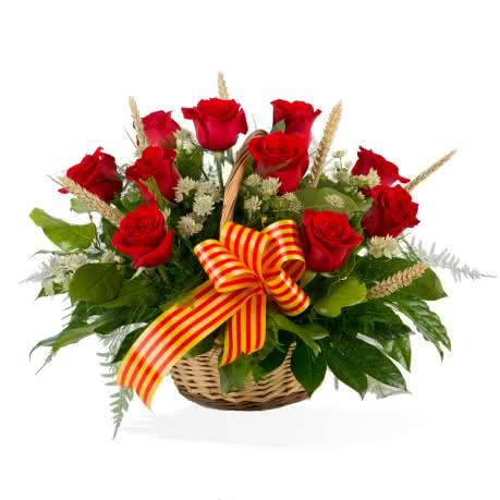 Cesta Día de la Rosa, Cesta de 10 rosas de tallo corto con decoración Sant Jordi