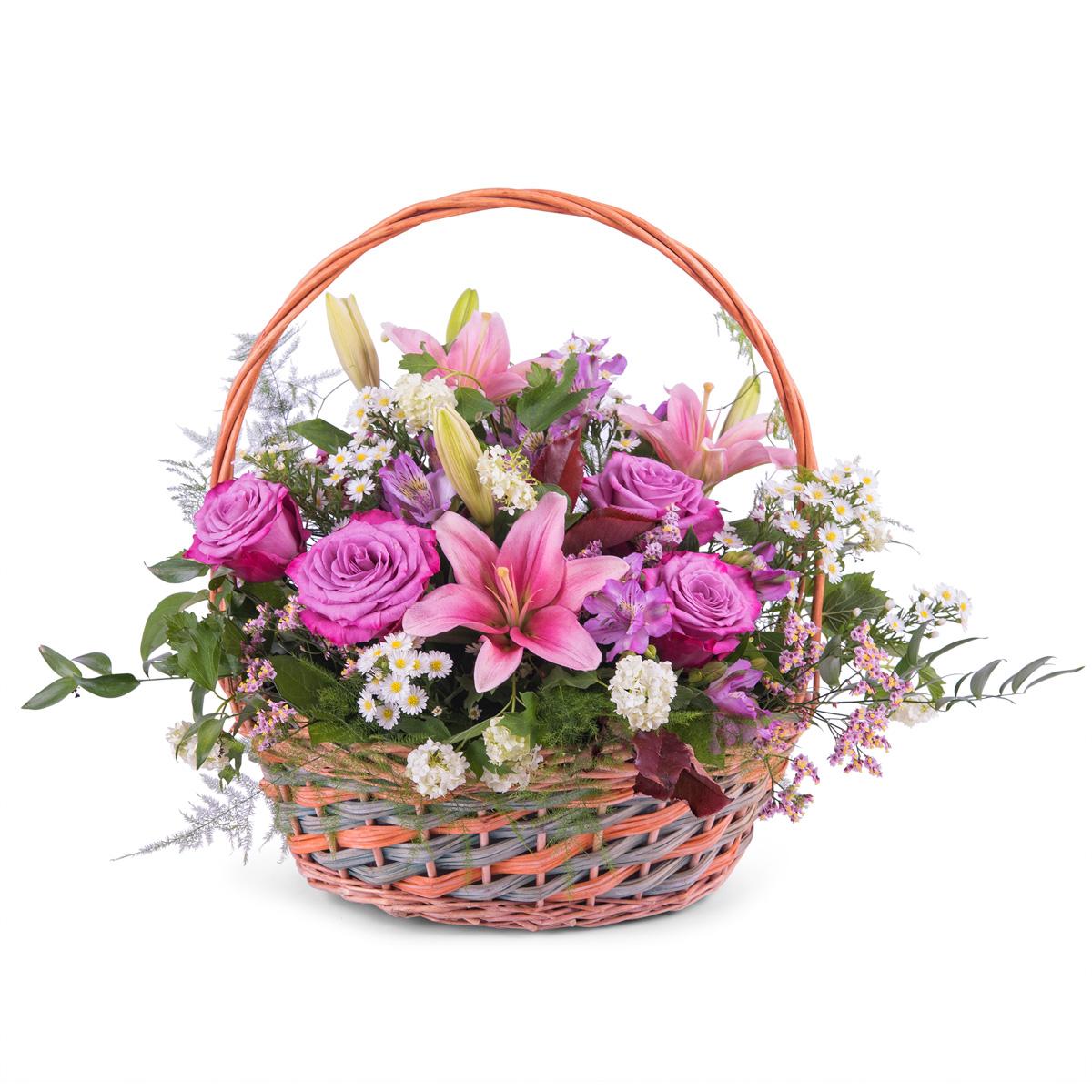 Cesta Primaveral Multicolor - Env?o de Flores a Domicilio