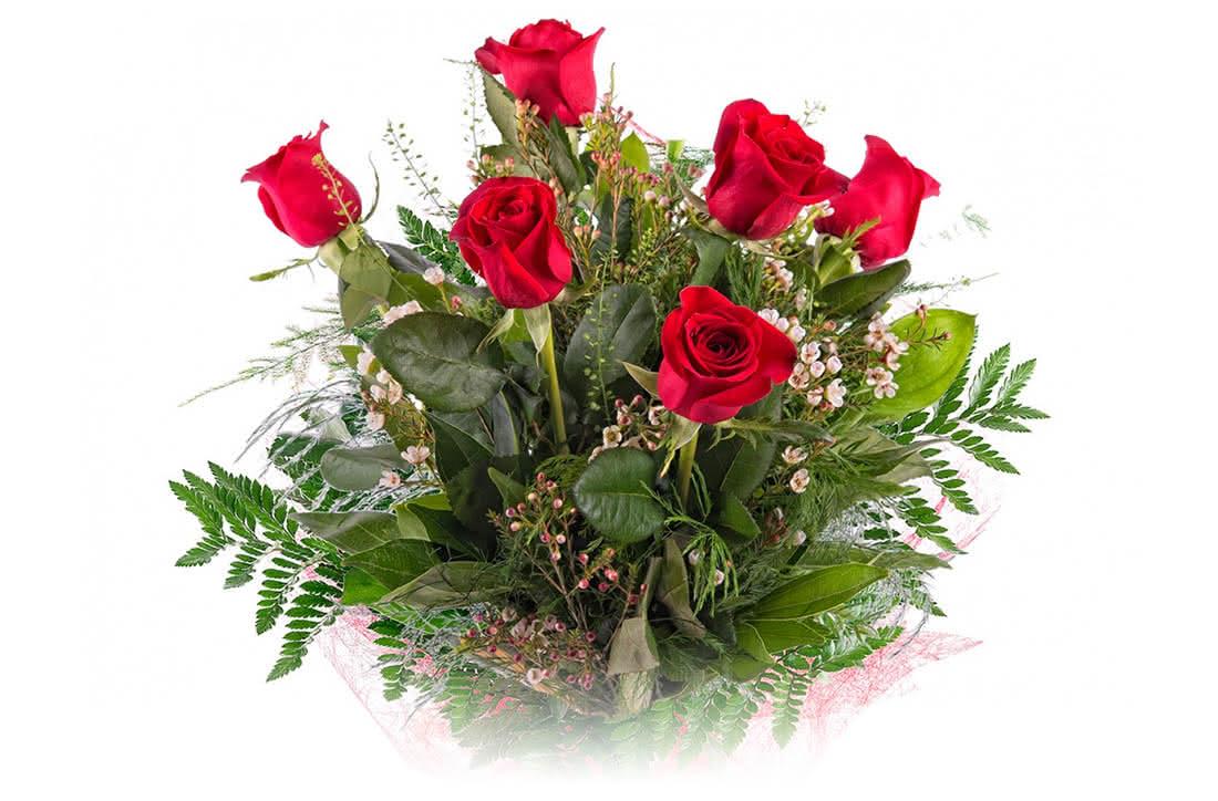 Un ramo de 6 rosas rojas con mucho que decir el 14 de febrero