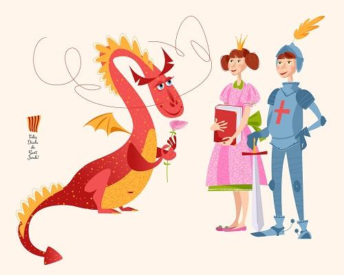 Sant Jordi y una historia de cuento con princesa, caballero y dragón