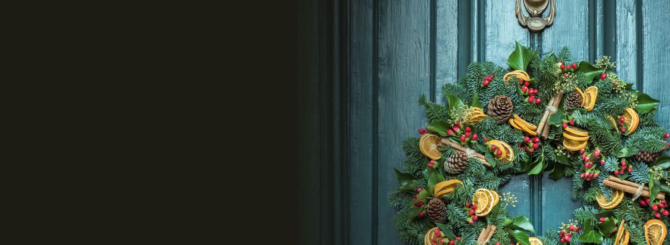 Decoración con flores para Navidad