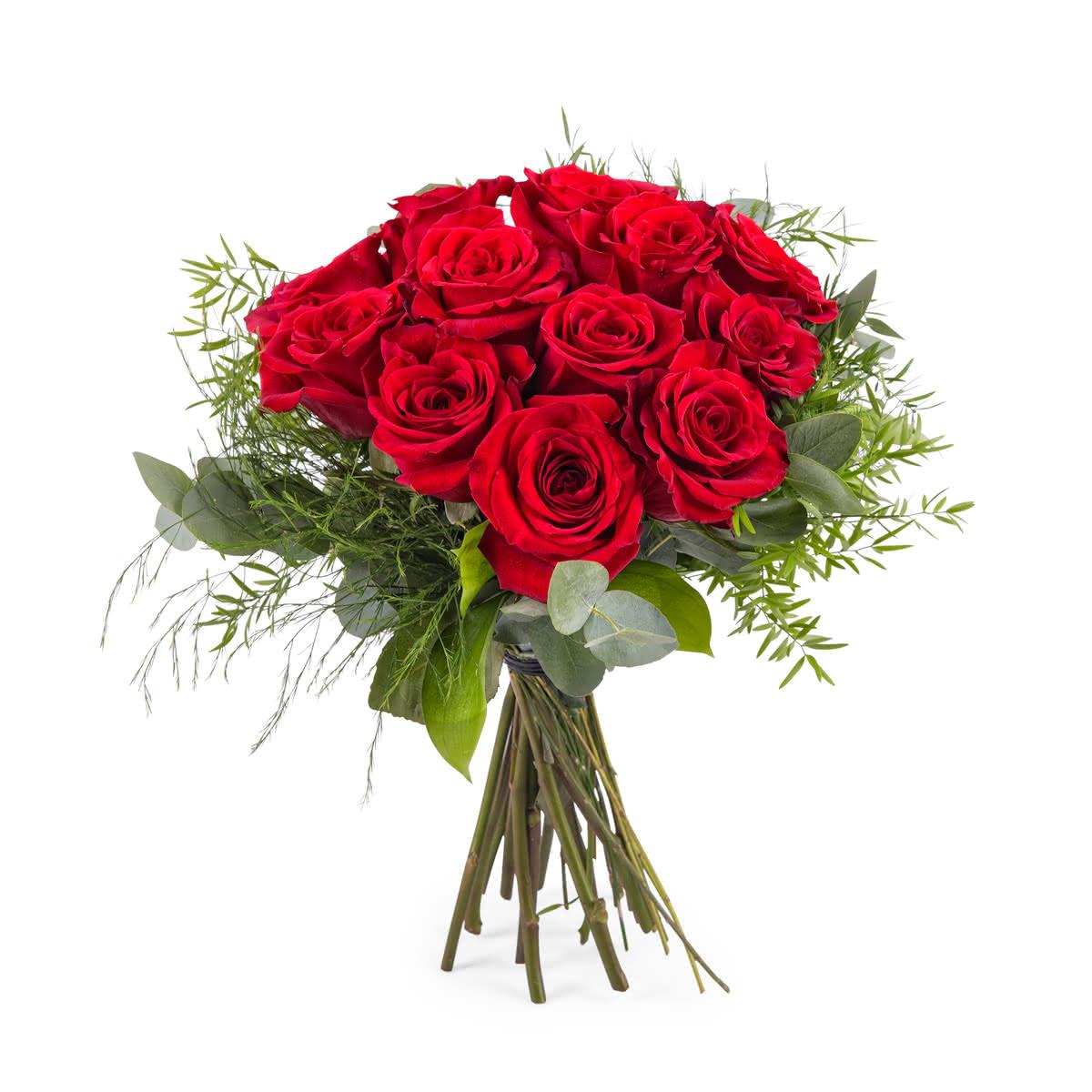 Deseo, 12 Rosas Rojas de Tallo Corto