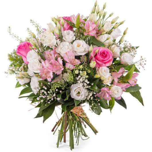 Ramo Templanza, ramo de flores en tonos rosas y blancos para felicitar el día de la Mujer Trabajadora