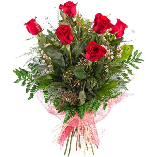 Ramo San Valentín, 6 rosas rojas de tallo largo completadas con verdes naturales para un regalo perfecto de San Valentín
