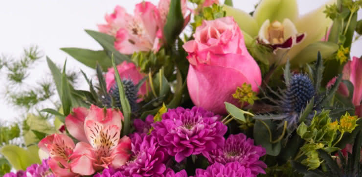Enviar un ramo con rosas y orquídeas