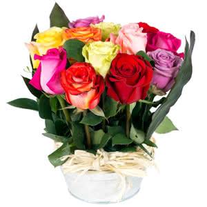 Sentido - Centro de rosas multicolor