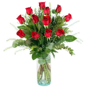 Amor - Ramo premium de 12 rosas rojas de tallo largo