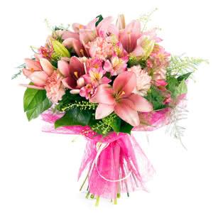 Veneto - Ramo de lirios y claveles en tonos rosas
