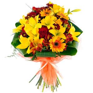Burdeos - Ramo de rosas y lirios en rojo y amarillo