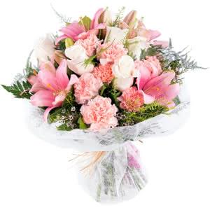 Dominica - Ramo de flores variado en tonos rosas
