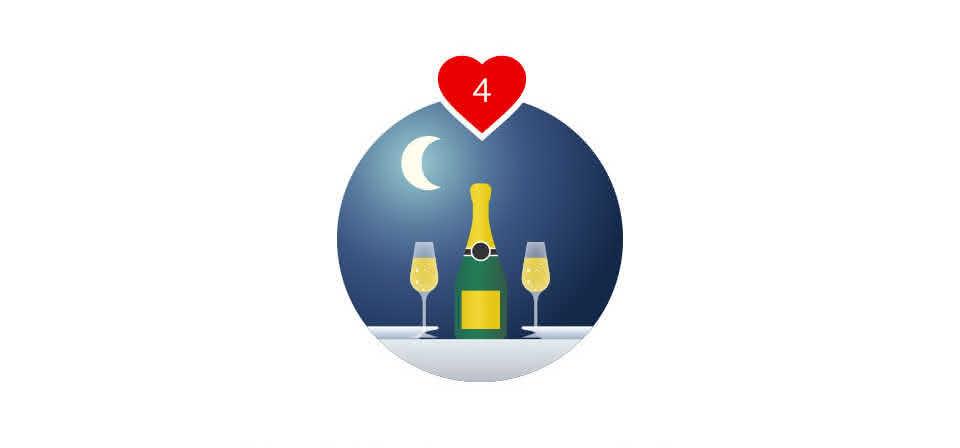 No olvides la cena romántica: velas, cava y un postre
